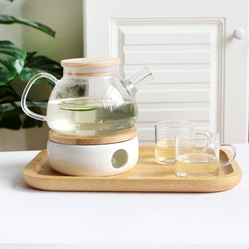 Large Heat-Resistant Borosilicate Glass Teapot With Candle Holder Clear Tea Pot Flower Tea Set Puer Kettle Office Home Tool