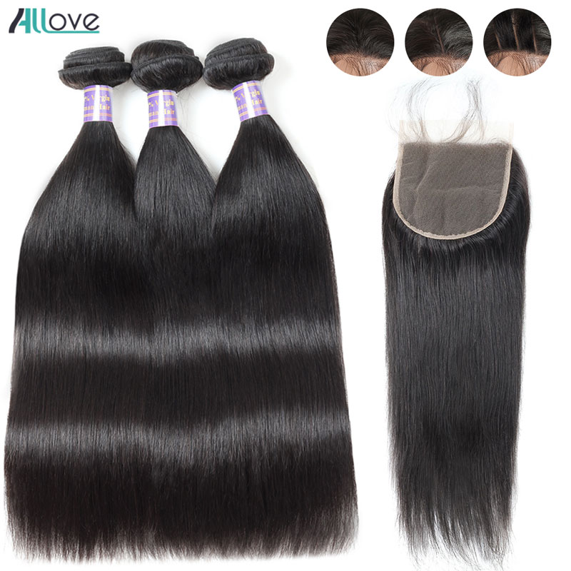 Allove Malaysian Hair Bundles With Closure Straight Hair Bundles With Closure Human Hair 3 Bundles With Closure Non Remy Hair