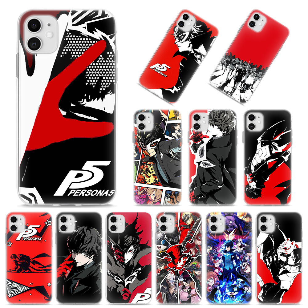 Persona 5 Joker suave para Apple iPhone 11 Pro MAX X XR XS MAX 7 7 Plus 6 6S Plus 5S SE funda de silicona Altavoz multipunto 4,1 + EDR Kit manos libres Bluetooth inalámbrico para coche reproductor de música MP3 para IPhone Android