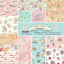 24 Sheets 6*6 inch Exquisite Horse Background Paper Rose Pattern For Scrapbooking DIY Making Pad Cardstock Cards