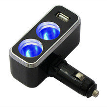 Triple 1 to 2 Socket + USB Power Supply Car Charger Power Su