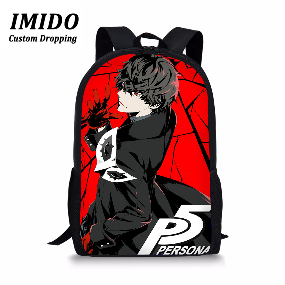 IMIDO Game <font><b>Persona</b></font> <font><b>5</b></font> <font><b>Backpack</b></font> Boys Children Schoolbag Joker Printing Primary School Daypack Kids Satchel Travel Bags Mochilas image