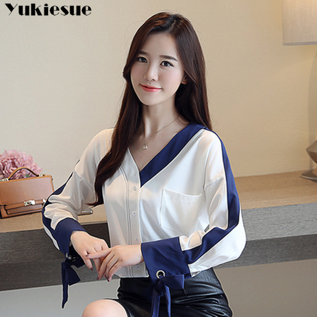 womens tops and blouses solid white chiffon blouse office shirt blusas mujer de moda 2020 long sleeve women shirts clothes 1