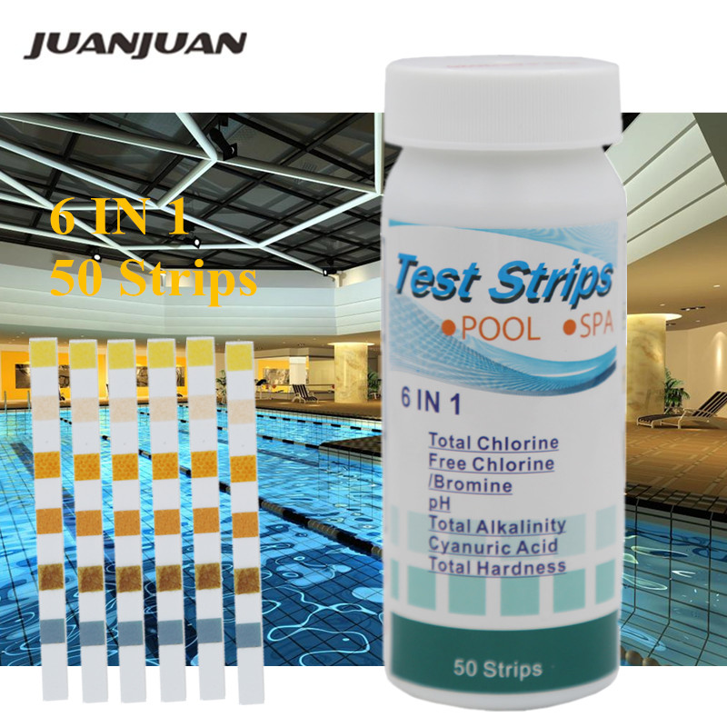 50pcs/bottle 2/3/4/5/6 In 1 PH Paper Tester Swimming Pool Water Test Strips Alkaline Acid Free Chlorine Bromine Tester 40% Off