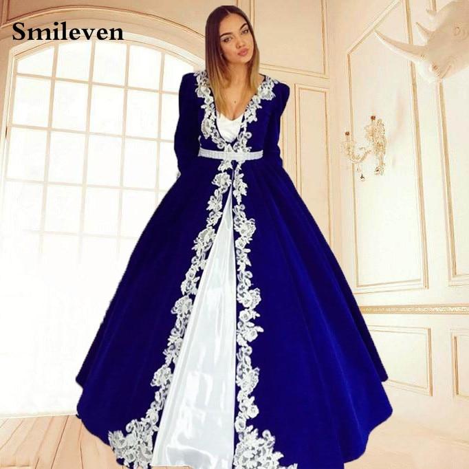 Smileven Blue Moroccan Kaftan Evening Dresses White Lace Appliques Women Mother Dress Arabic Muslim Special Occasion Dresses
