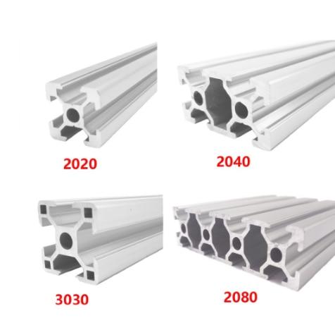 2020 2040 3030 2080 Aluminum Profile 100 200 300 350 400 450 500 550 600 Mm Linear Rail Extrusion Extrusion CNC 3D Printer Parts