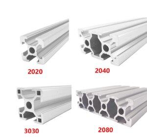 2020 2040 3030 2080 Aluminum Profile 100 200 300 350 400 450 500 550 600 mm Linear Rail Extrusion Extrusion CNC 3D Printer Parts(China)