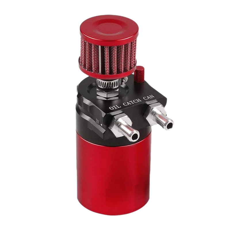 Universal Aluminum Engine Oil Catch Can Reservoir Tank w//Breather Filter Baffled Red