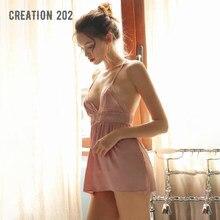 Creation 202 New Women's Sexy Nightdress Lace Satin Pajamas Deep V Open Back Suspender Nightdress Home