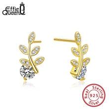 Effie Queen 100% 925 Sterling Silver AAAA Zircon Earrings For Women Leaf Shape Stud  Jewelry Party Gift BE174