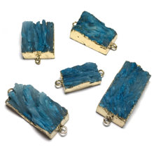 Natural Stone Blue Pendants Fashion Square Shape Double hole connector for Jewelry Making DIY Bracelet necklace accessories(China)