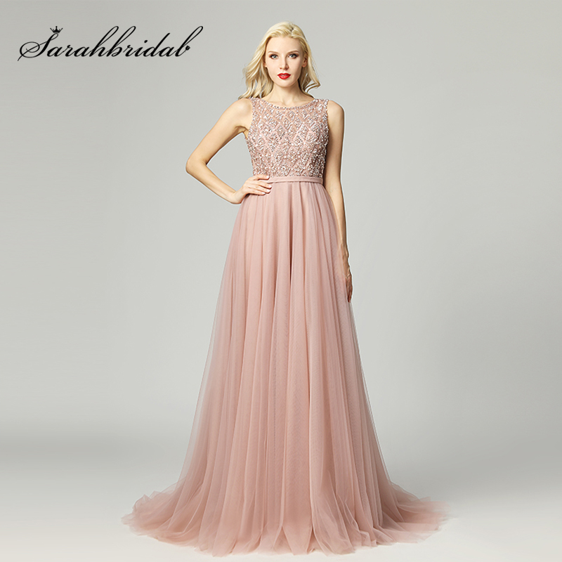 Luxury Beading Long Celebrity Dresses A-line Crystal Dubai Top Tulle Zipper Back Formal Evening Party Gowns Real Video L5465