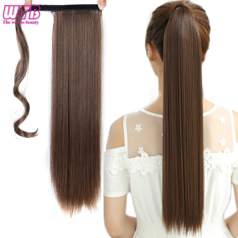 WTB Wrap Synthetic Ponytail Hair Extension Long Straight Women's Clip In Hair Extensions Pony Tail False Hair 22 Inch 1