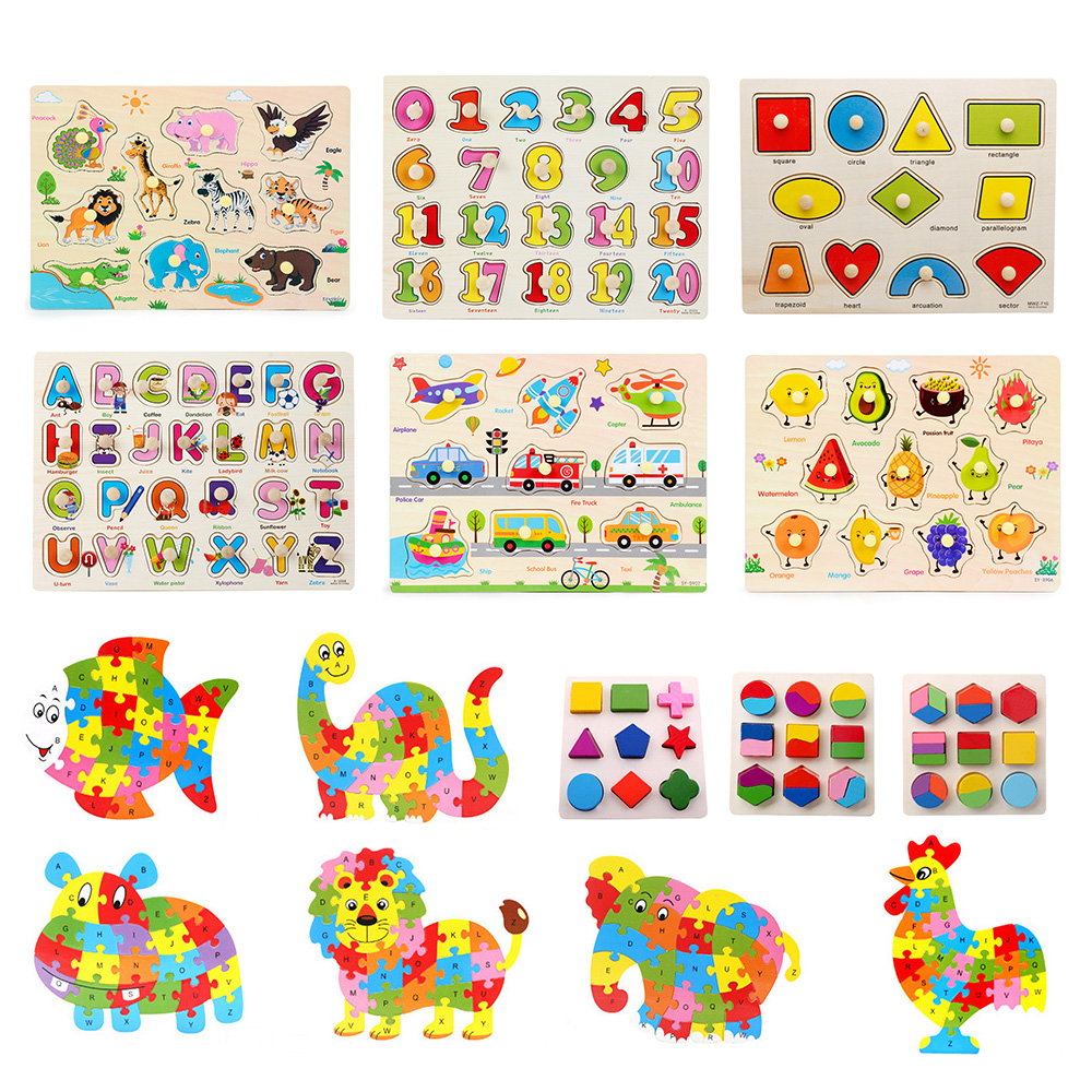 Kids Wooden Jigsaw Geometric Cartoon Puzzle Animal Number Letter DIY Educational Learning Toys D30