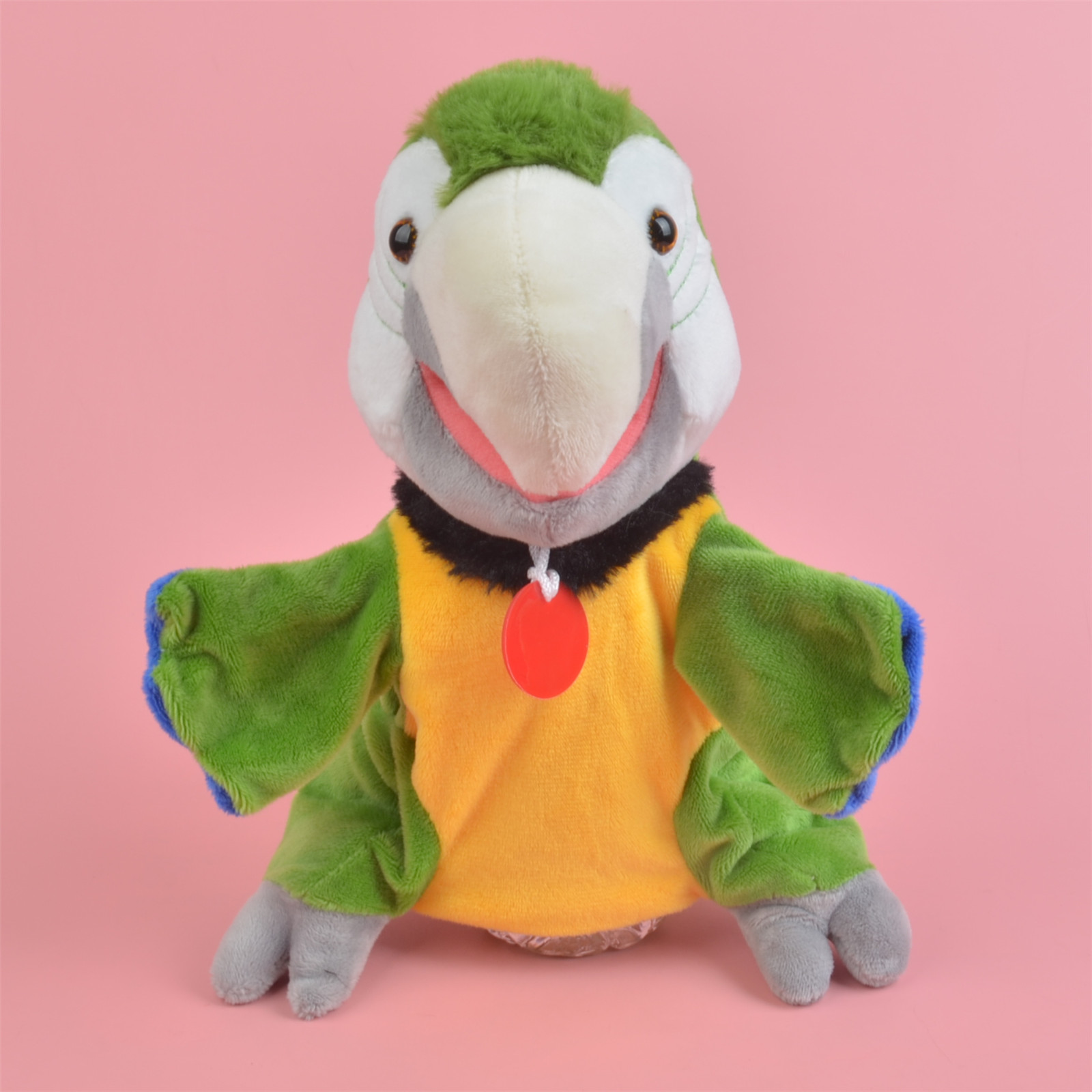 Green Parrot hand puppet Learning plush toy, Stuffed Baby / Kids Develop Doll Toy Gift