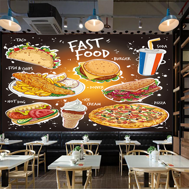 Hand Drawn Popular Fast Food Wallpaper 3D Taco Fish and Chips Burger Doner Kebab Pizza Ice Cream and A Soda Drink Wall Paper 3D