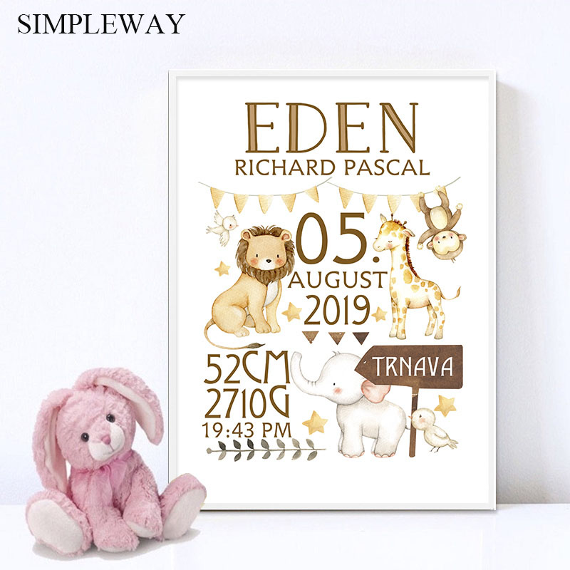 Personalized Baby Birth Custom Poster Nursery Art Print Animal Canvas Painting Wall Picture Nordic Kid Boy Bedroom Decoration