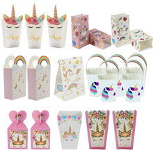 Cookies-Bags Gift-Box Popcorn-Boxes Unicorn Party-Paper Birthday-Party-Decorations Candy
