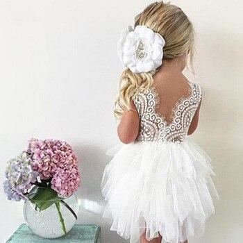 Summer Girl Dress White Scallop Girls Little Girls Princess Dress Tutu Fluffy 2 3 4 5 6 Years Children Casual Wear Kids Clothes 1