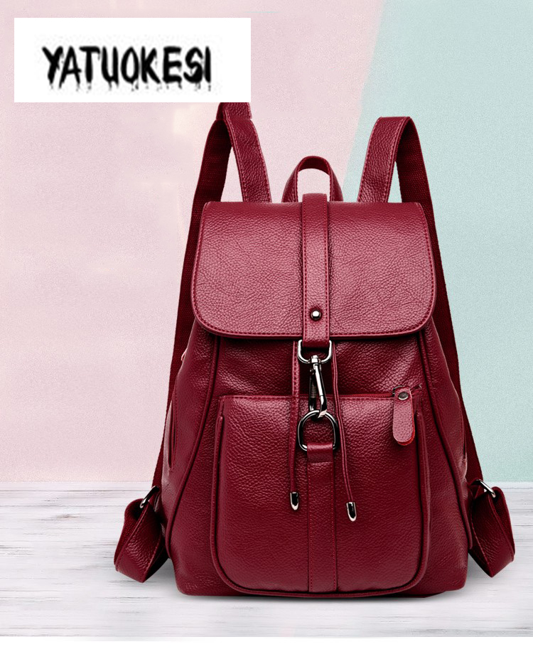 YATUOKESI Women Multi-function Leather Backpack Fashion Lock Backpack Women Drawstring Anti-theft Backpack Mochilas Feminina