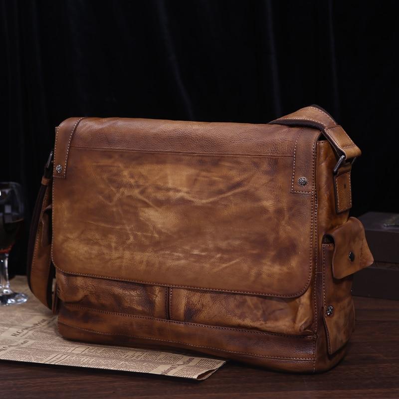 Mâle De Loisirs en cuir De Vachette sac pour hommes section tannage végétal première couche en cuir sac à bandoulière sacs de Messager rétro