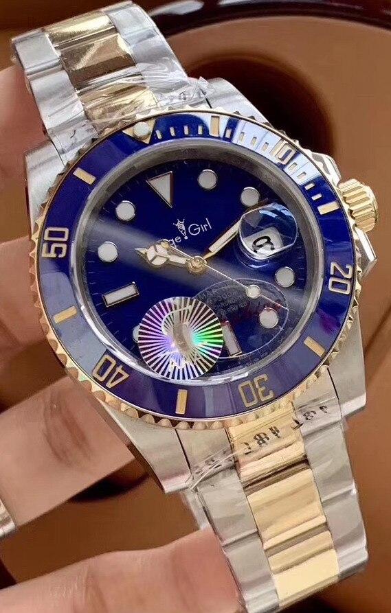 Luxury Brand New Men Automatic Mechanical Watch Gold Silver Black Blue Green Stainless Steel Ceramic Bezel Sapphire Heavy 40mm