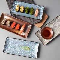 9.8 inch Japanese Style Dinner Plate Ceramic Sushi Plate Fish Dinner Dishes Rectangle Household Dinnerware