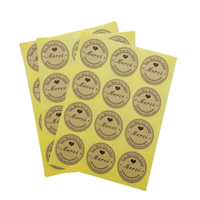 120pcs/lot Merci Black Heart Round Self-adhesive Sealing Sticker DIY Gift Product Label Stickers