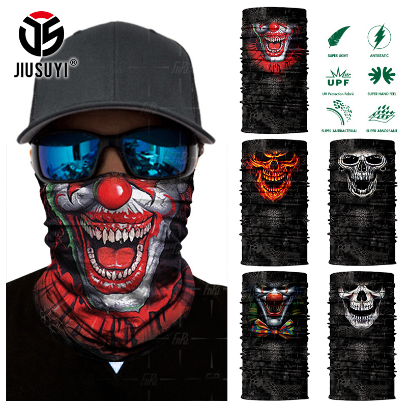 Seamless Skull Skeleton Bandana Balaclava Joker Clown Neck Gaiter Face Mask Tube Scarf Bicycle Headwear Halloween Headband Men