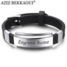 AZIZ BEKKAOUI гравировка имя черный силиконовый браслет для мужчин нержавеющая сталь кожаные браслеты модные панк мужские ювелирные изделия