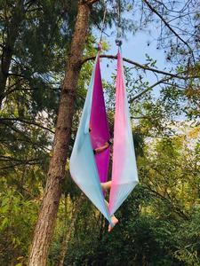 Image 3 - Fitness 5M Luft Fliegen Yoga Hängematte Faric Schaukel Gradational Farben Luft Seide Niedrigen Stretch Anti Schwerkraft Hängematte Für Die yoga