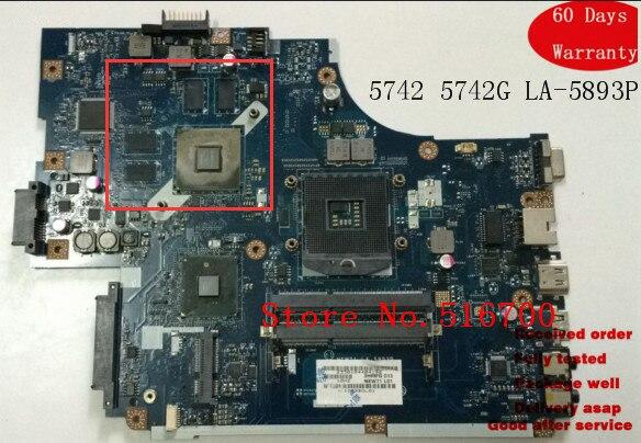 Placa-mae para mbwuv02001 para acer 5741 5742 5741g 5742g placa-mãe mb. wuv02.001 new71 LA-5893P função de teste