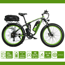 Cyrusher Electric Bicycle Double Suspension Fat Tire ebike for Men Snow/Mountain Bike 48V 750W  XF800 WaterProof Bag and Shelf