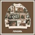 Зимние свитера для мужчин, повседневные мужские пуловеры в стиле ретро с круглым вырезом и принтом медведя, парный свитер в японском стиле, ...