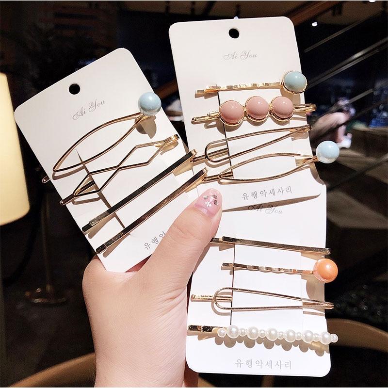 New 4PCS/Set Cute Pearl Geometric Alloy Hairpins Women Girls Sweet Barrette Hair Clip Headwear Headband Fashion Hair Accessories