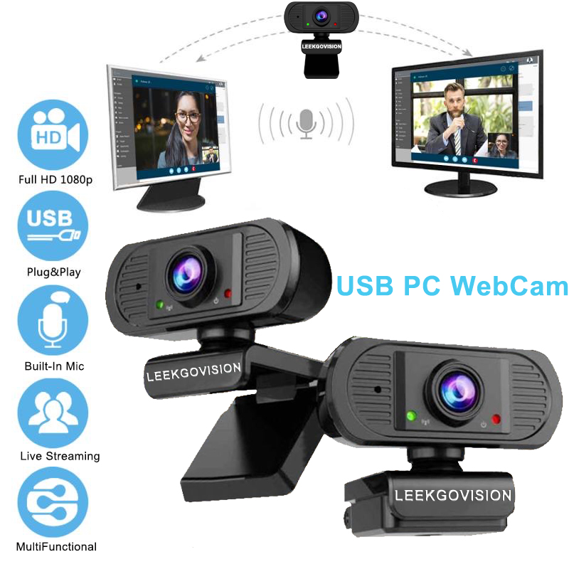 WebCam 1080P HD USB PC Camera With Built-in Micphone For Computer Online Video Live Streaming Windows Mac Linux Android OS