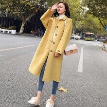 ロングウールコートの女性スリム長袖シングルブレスト韓国スタイルウールコートの女性の秋黒の上着 abrigo mujer