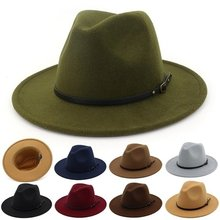 Mannen/Vrouwen Vintage Brede Rand Hoed Kerk Party Dames Vilt Jazz Cap Cowboy Party Hoed(China)