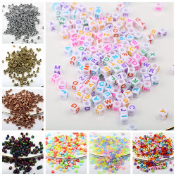 100pcs Mixed Letter Acrylic Beads Round Flat Alphabet Digital Cube Loose Spacer Beads For Jewelry Making Bracelet DIY Handmade