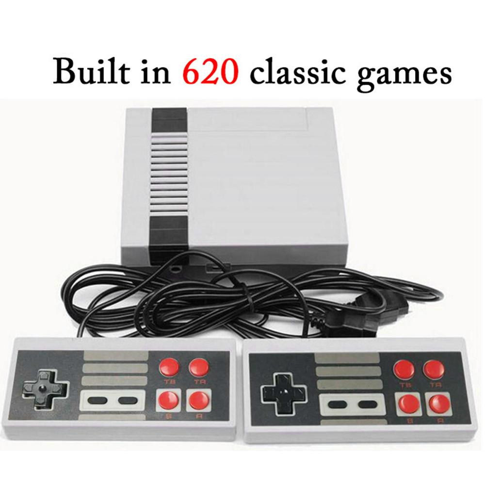 Mini TV Game Console Handheld Retro Gaming Player Family TV Video Game Dual Gamepad AV Output Built-in 620 Classic Games