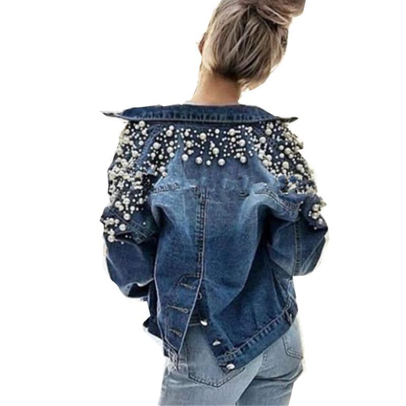 Pear Decor Short Denim Jacket Women Autumn Winter Long Sleeve Jeans Jacket Tops Korean Leisure Beads Joker Back Single Breasted|Jackets| - AliExpress