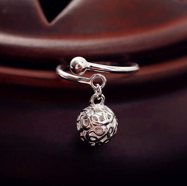 100% Real Pure 925 Sterling Silver Hollow Ball Rings For Women Statement Jewelry Finger Ring anillos mujer Bijoux