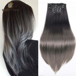 BEAUTY PROS Synthetic 16 Clips in Hair extension for women Silky Straight Long Blond Hair 22'' Heat Resistant 140G