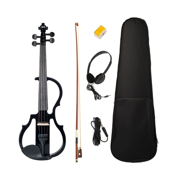 Electric Violin 4/4 Full Size Violin with Case Bow Earphone Rosin Set Black