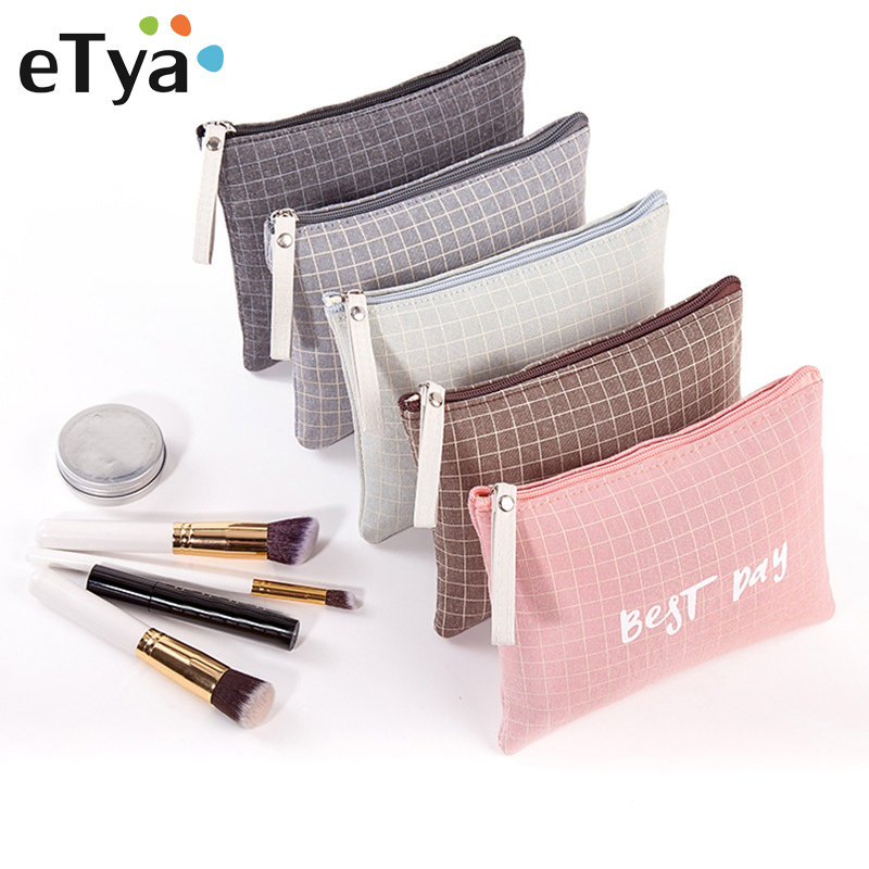 ETya New Canvas Plaid Travel Cosmetic Bag Small Makeup Bag Pouch Fashion Portable Women Lady Travel Wash Toiletry Organizer Bag