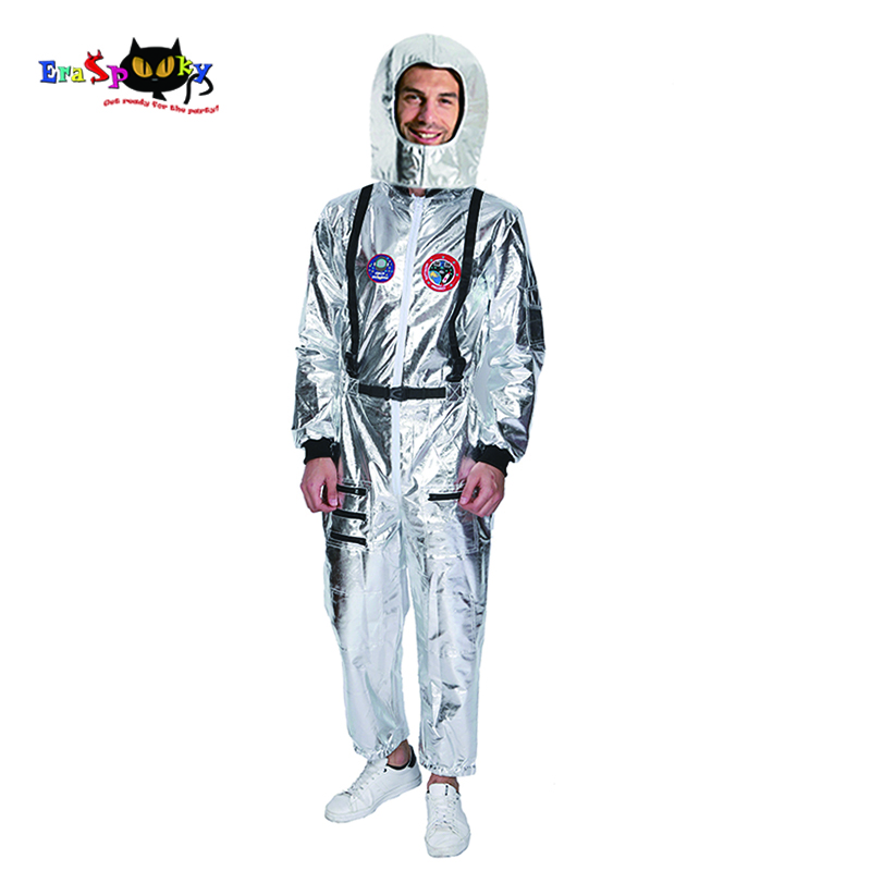 Eraspooky Men Astronaut Spaceman Cosplay with Helmet Carnival Party Club Alien Silver Stage Outfits Halloween Costume For Adult