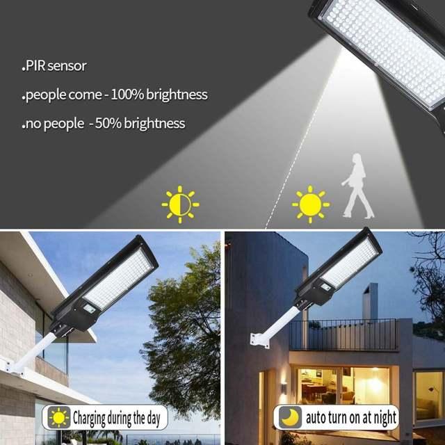 100W/200W LED Outdoor Lighting Wall Lamp Solar Street Light IP67 Solar Powered Remote Radar Motion Light Control for Garden Yard 2