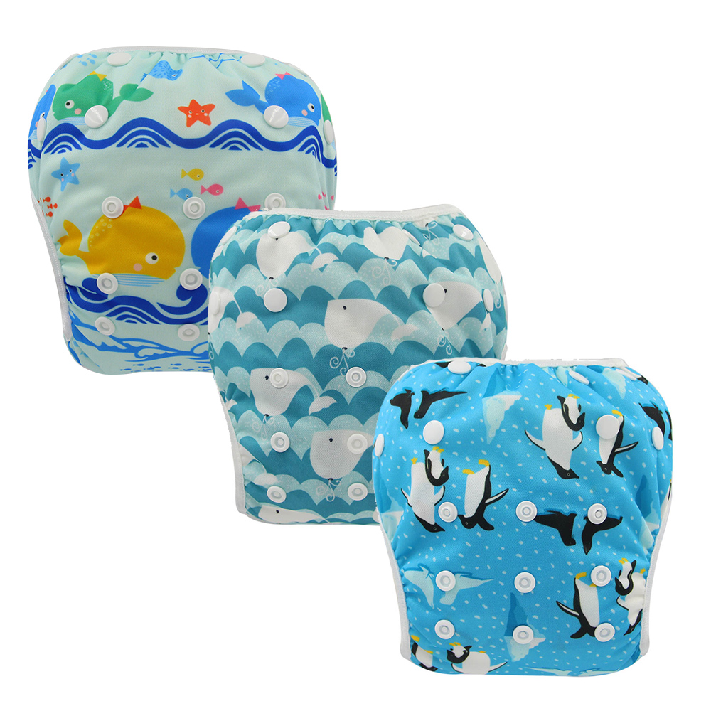 Swim Diapers Boys & Girls One Size Reuseable Adjustable 3pcs Ohbabyka New Cloth Diapers For Newborn Swimming Baby Shower Gifts