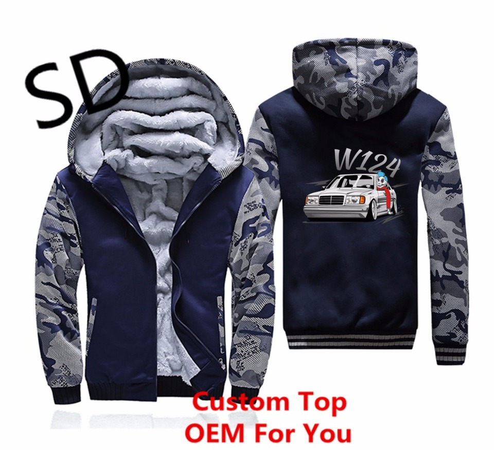 Dropshipping 3D Hoodies Men Mercedes w124 Sweatshirt men Hoodies streetwear Zipper winter jacket men camouflage Coat 4XL Clothes