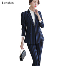 Lenshin High Quality 2 Piece Set Striped Blue Formal Pant Suit Blazer